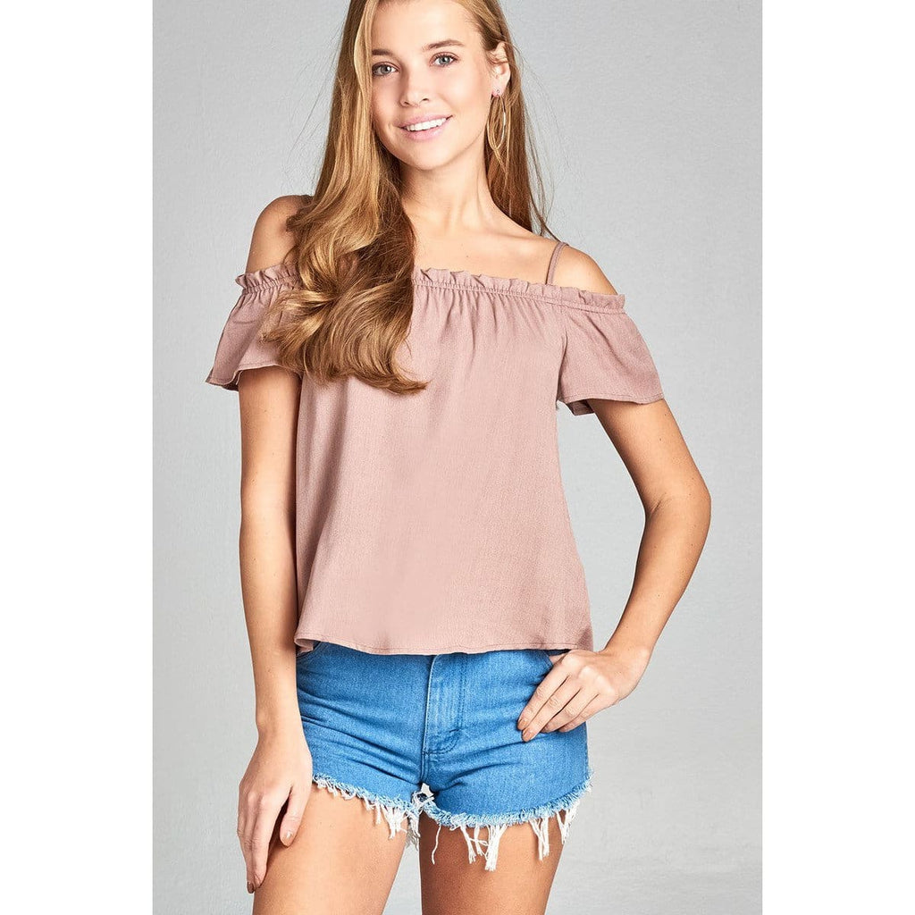Women Short Sleeve Smoked Neckline W/back Self Bow Tie Woven Top Tops