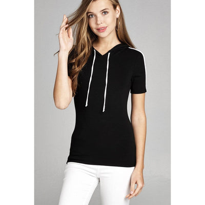 Women Short Sleeve W/wide Stripe Drawstring Hoodie Top Tops