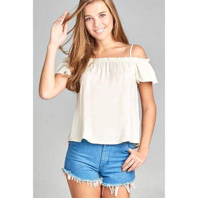 Women Smoked Neckline W/back Self Bow Tie Woven Top Tops