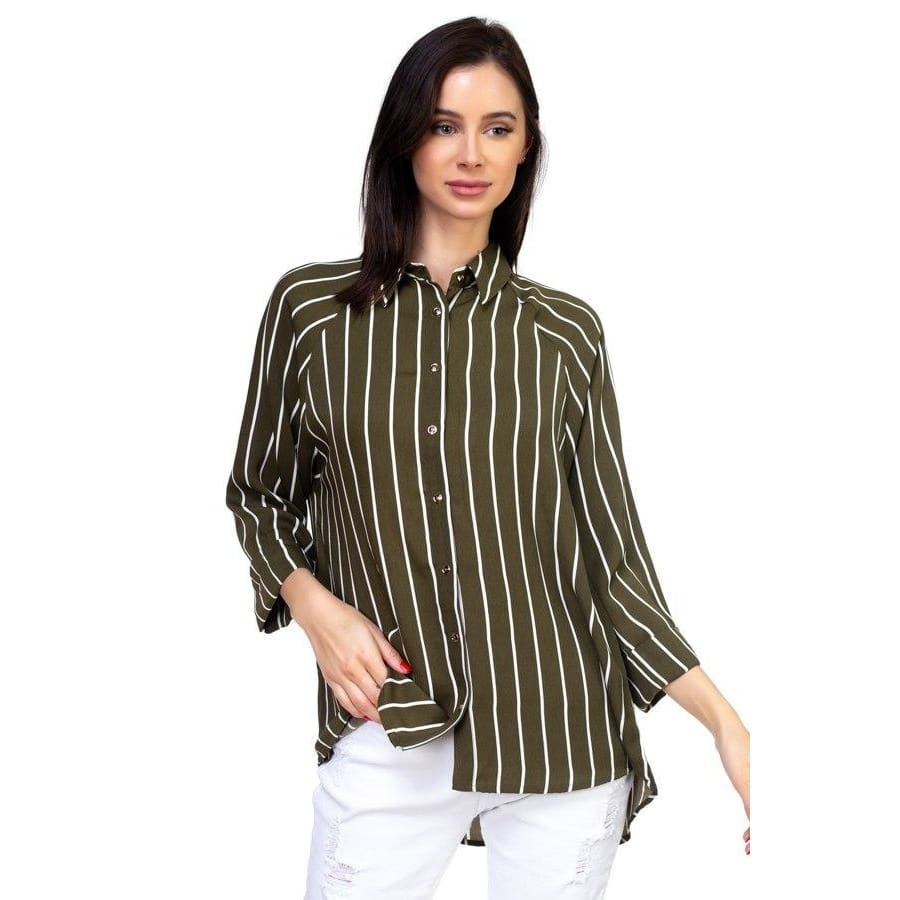 Women Stripe Snap Button Down Shirt