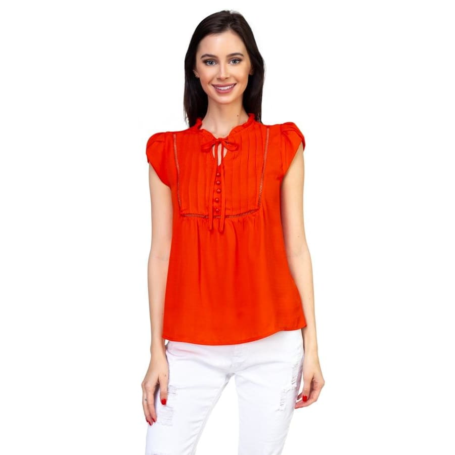 Women Summer Top Solid Short Tulip Sleeve Shirts Tops