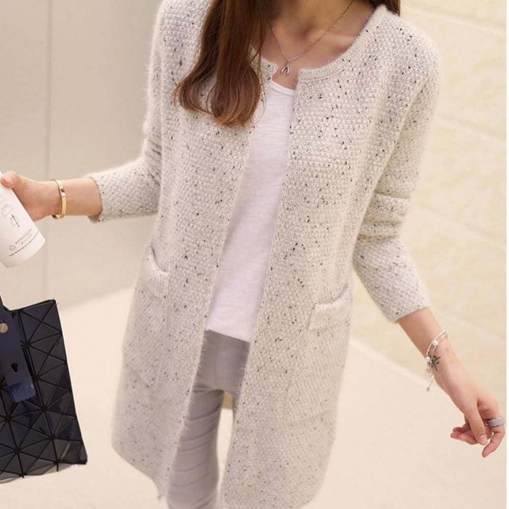 e99c3797cfb814 Women Sweater Autumn Winter Casual Long Sleeve Knitted Cardigan Beige / S  Fall Sweater