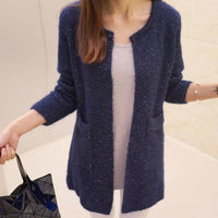 Women Sweater Autumn Winter Casual Long Sleeve Knitted Cardigan Dark Blue / S Fall Sweater