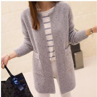 Women Sweater Autumn Winter Casual Long Sleeve Knitted Cardigan Gray / S Fall Sweater