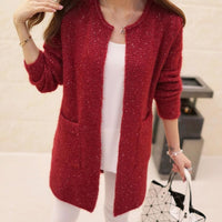 Women Sweater Autumn Winter Casual Long Sleeve Knitted Cardigan Red / S Fall Sweater