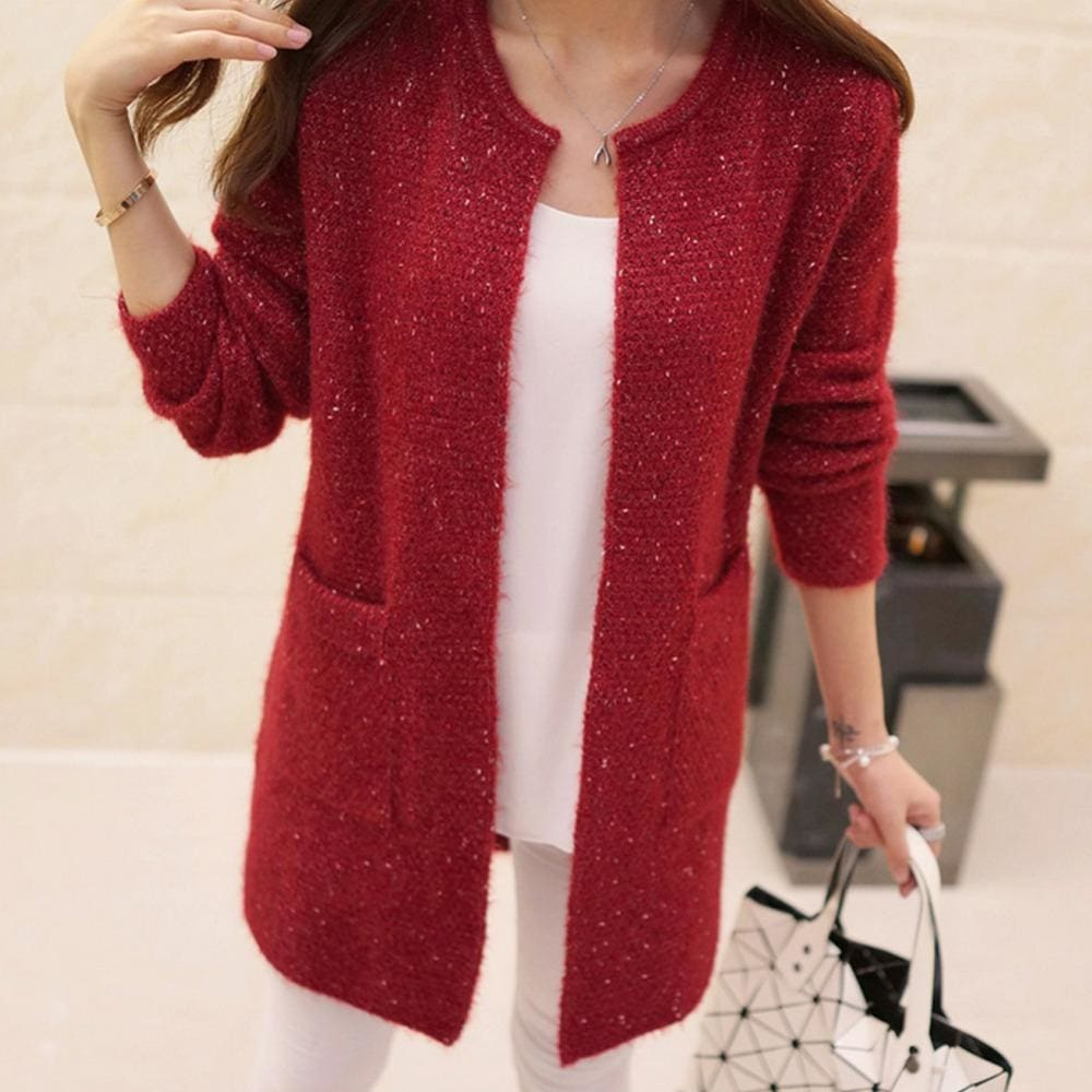 cb3e538468e Women Sweater Autumn Winter Casual Long Sleeve Knitted Cardigan Red   S  Fall Sweater