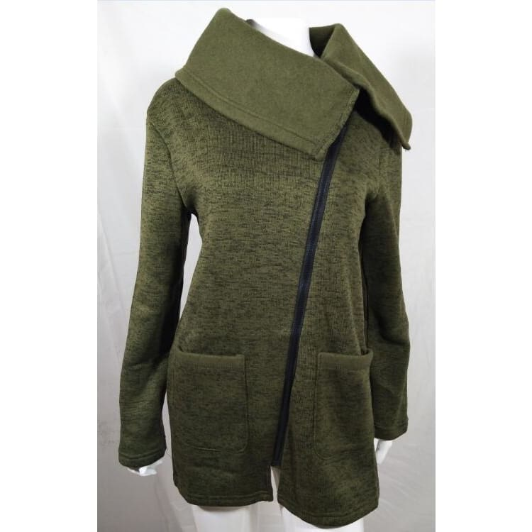 Women Sweater Gray Autumn Long Sleeve Pocket Tricot Knitted Cardigan Army Green / S Fall Sweater