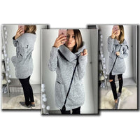Women Sweater Gray Autumn Long Sleeve Pocket Tricot Knitted Cardigan Fall Sweater