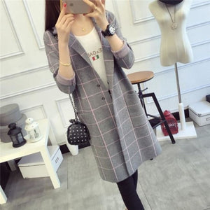 Women Sweater High Quality Long Cardigan Autumn Winter 3 Colors Gray / One Size Fall Sweater