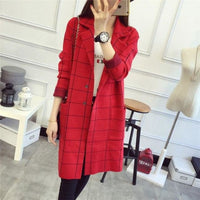Women Sweater High Quality Long Cardigan Autumn Winter 3 Colors Red / One Size Fall Sweater