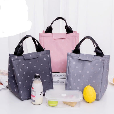Women Thermal Lunch Bag Gray Pink Waterproof Oxford 3 Designs Lunch Bag