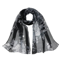 Women Thin Silk Scarf Chiffon Flower Print Luxury Scarves 6 Colors Black Scarves