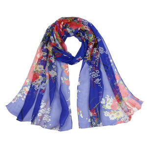 Women Thin Silk Scarf Chiffon Flower Print Luxury Scarves 6 Colors Blue Scarves