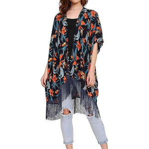 Women Tropical Floral Fringed Kimono Tops