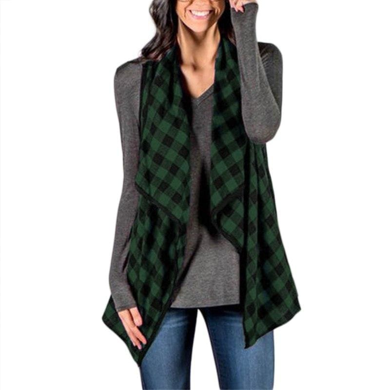 Women Vest Sleeveless Casual Loose Waistcoat 4 Colors Green / L Fall Sweater