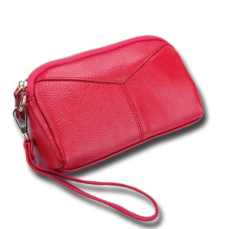 Women Wallet Genuine Leather Credit Card Holder 9 Colors Rose Red Wallet