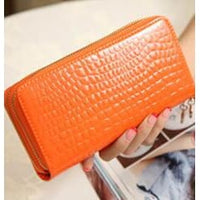 Women Wallet Pu Leather Card Holder Long Style 7 Colors Orange Wallet