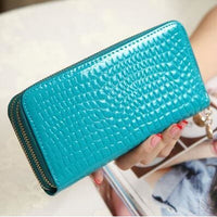 Women Wallet Pu Leather Card Holder Long Style 7 Colors Sky Blue Wallet