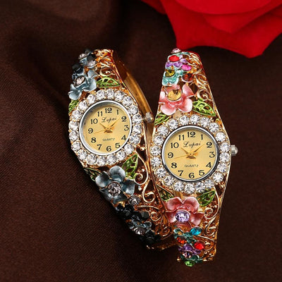 Women Watch Alloy Quartz Dress Flowers Bracelet Watch In 12 Colors Women Watch