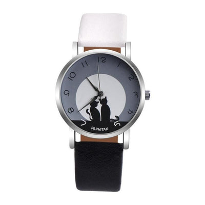 Women Watch Casual Cute Cat Printed Faux Leather Analog Quartz Wrist Watch 12 Colors Women Watch