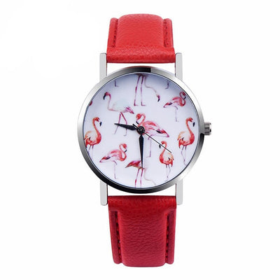 Women Watch Casual Flamingo Printed Pu Leather Strap Analog Quartz Wrist Watch 2 Colors Women Watch