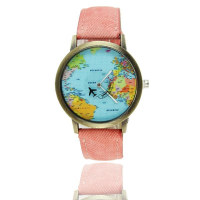 Women Watch Casual Global Travel By Plane Map Quartz Wrist Watch 8 Colors Pink Women Watch