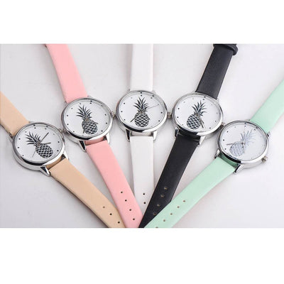 Women Watch Casual Pineapple Printed Faux Leather Analog Quartz Wrist Watch 5 Colors Women Watch