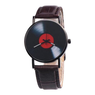 Women Watch Casual Retro Vinyl Pu Leather Records Design Analog Alloy Quartz 4 Colors Women Watch