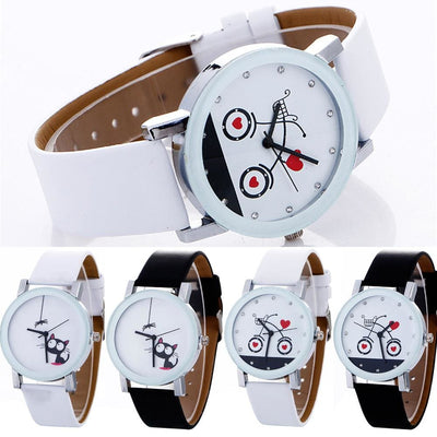 Women Watch Cute Cat Printed Leather Quartz Wrist Watch In 4 Colors Women Watch