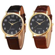 Women Watch Geneva Retro Style Leather Band Analog Quartz Wrist Watch 2 Colors Women Watch