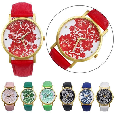 Women Watch Lace Flower Printed Leather Band Casual Analog Watch In 7 Colors Women Watch