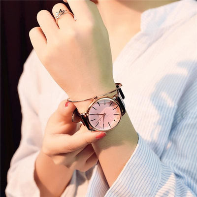Women Watch Luxury Poligonal Dress Leather Wristwatch Pink Glass Brown Women Watch