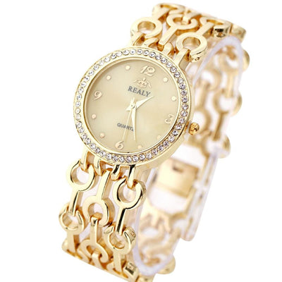 Women Watch Stainless Steel Chain Strap Bracelet With Rhinestones 3 Colors Women Watch