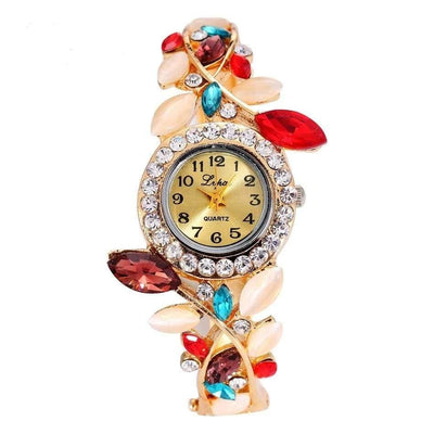 Women Watch Vintage Casual Alloy Colorful Crystal Bracelet Wrist Watch 5 Colors Women Watch