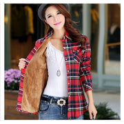 Women Winter Keep Warm Cotton Plaid Blouse Sweater Long Sleeve Many Colors Fall Sweater