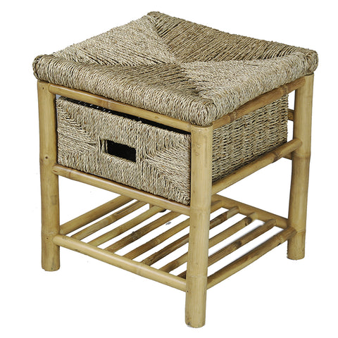 Natural Bamboo Frame Storage Stool with a Shelf and a Basket
