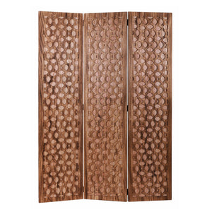 Stunning Carved Brown Wood Room Divider Screen