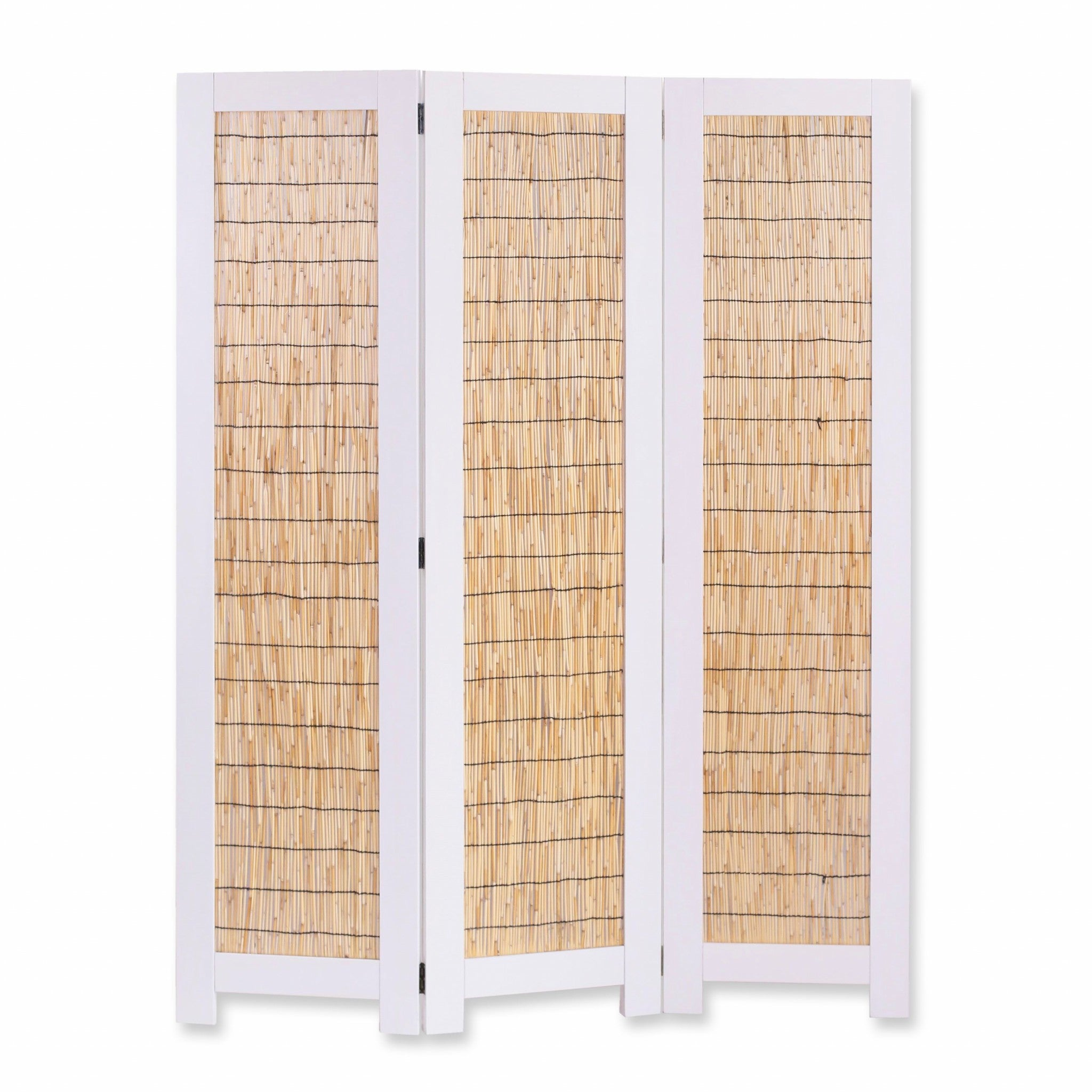 White and Natural 3 Panel Room Divider Screen