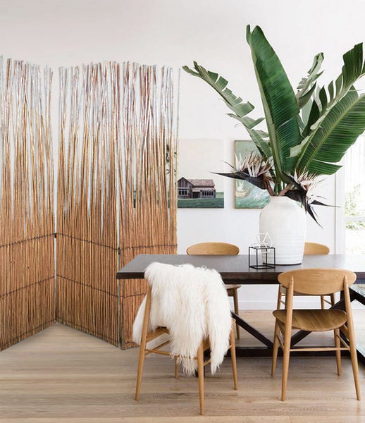 Three Panel Natural Willow Room Divider Screen