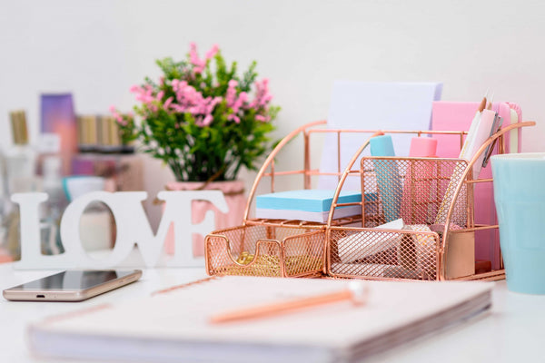 Stylish Rose Gold 6 Compartment Desk Organizer