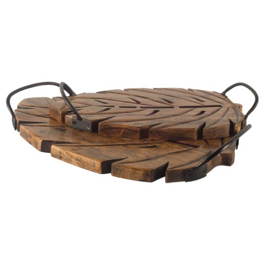 Brown Wooden Leaf With Sports Handle Trays