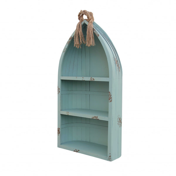 Distressed Blue Canoe Hanging Shelf