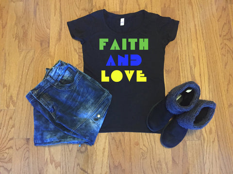Faith and Love T-shirt,  - Peachy Brass