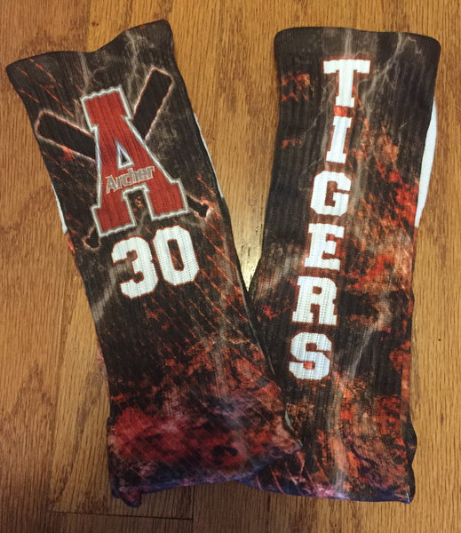 Archer Tigers Baseball Socks - Peachy Brass