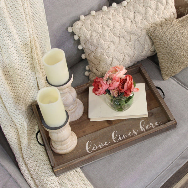 Love Lives Here Wood Serving Tray (Distressed)