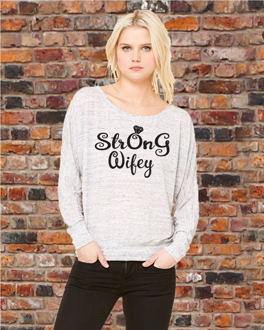 StrOnG Wifey Shirt (Off Shoulder), Shirts - Peachy Brass