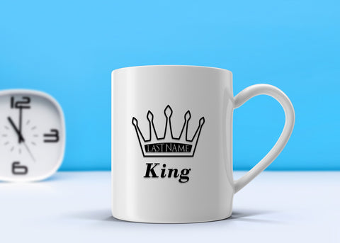 King Last Name Mug, Mugs - Peachy Brass