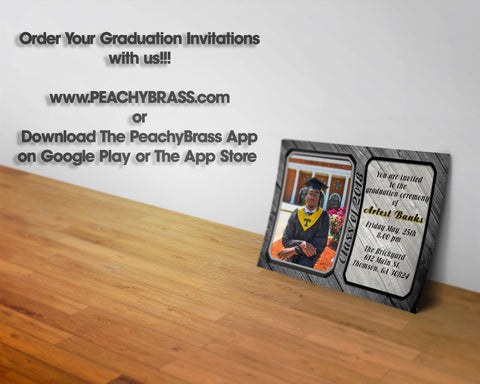 Custom Graduation Invitations,  - Peachy Brass