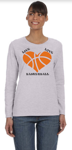 Live Love Basketball Long Sleeve Shirt - Peachy Brass