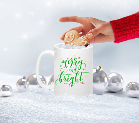 Merry and Bright Mug, Mugs - Peachy Brass
